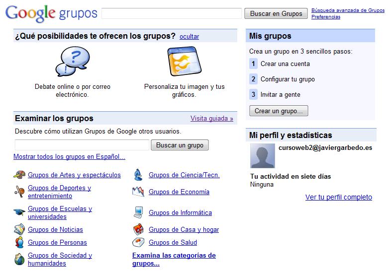 Creación De Foros En Google Groups Sitio Web De Javier García Escobedo Javiergarciaescobedo Es